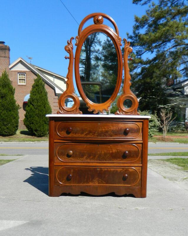 Walnut Victorian Marble Top Dresser with Tilting Mirror circa1865