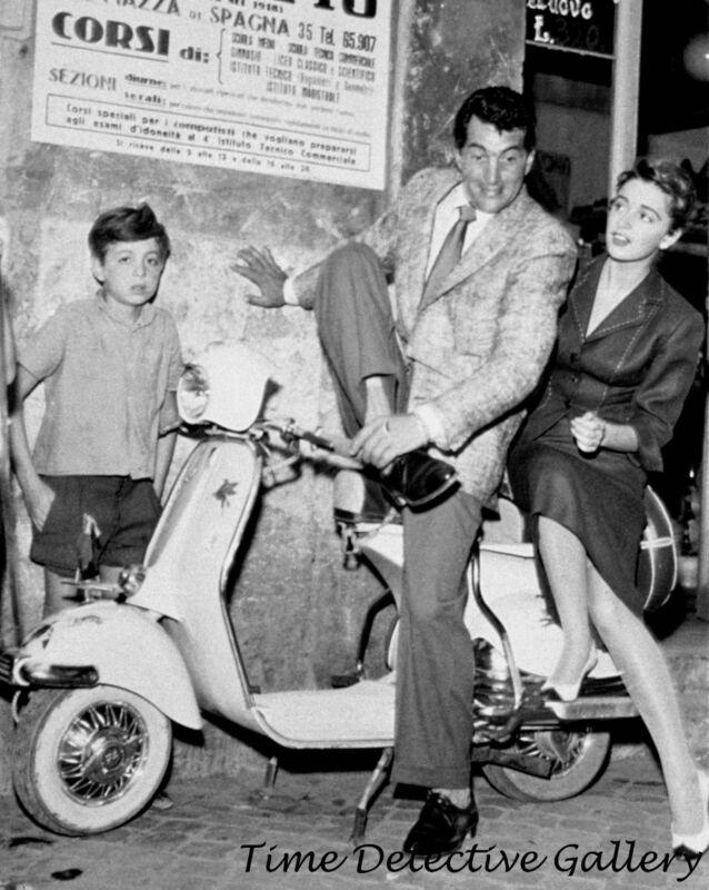 Actor Dean Martin with a Vespa, Italy - 1940s - Vintage Photo Print