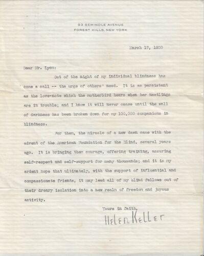 HELEN KELLER TYPED LETTER SIGNED TLS 1930 AMERICAN FOUNDATION FOR THE BLIND AFB