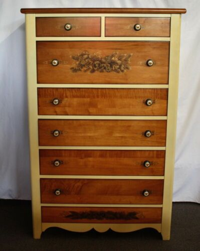 Vintage L. HITCHCOCK SIGNED Chest of Drawers. Stenciling, Gold Trim, Eagle Pulls