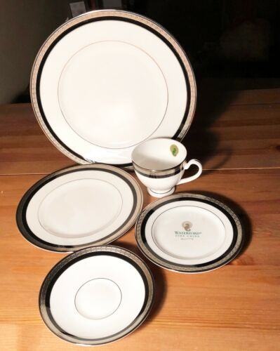 waterford china colleen modern silver black white 5 pce place setting japan nwt