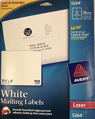 Avery Trueblock White Laser Shipping Labels 5264 3 13 X 4 Pack Of 150