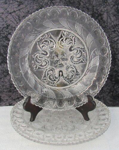 (3) Antique Boston & Sandwich Peacock Eye & Thistle Lacy Flint Glass Plates