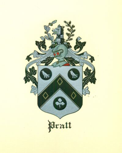 *Great Coat of Arms Pratt Family Crest genealogy, would look great framed!