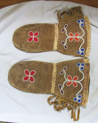 Vintage Sioux Indian Beaded Beadwork Beads Leather Gauntlet Gloves
