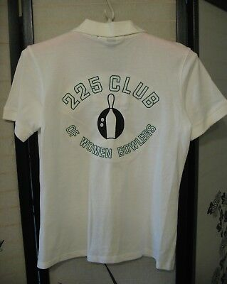 NWT white,100 % Cotton, 225 CLUB WOMENS BOWLERS  TEAM SHIRT  by Harrington Med.