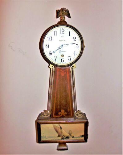 "1930 Sessions ""Provincetown"" 8-Day Banjo Clock w Cape Cod Nautical Scene Working"