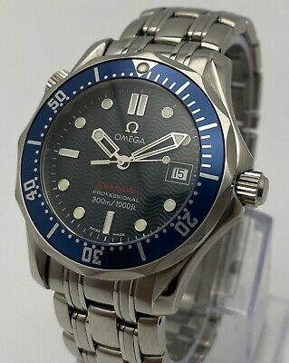 Omega Seamaster MidSize Watch Blue Wave Dial Quartz 36mm 2223.80.00 Box & Papers