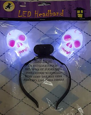 LED HALLOWEEN HEADBAND Light Up Bright in Dark - Kids Trick Or Treat - Brand New