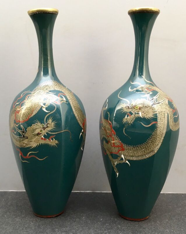Pair Of Japanese Meiji Golden Age Cloisonne Vases w/ Silver Wire