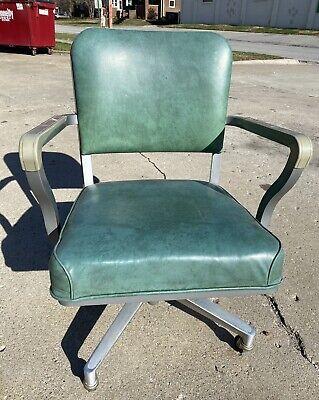Vintage Green Steelcase Office Chair Swivel Rolling Wheels Steel Vinyl