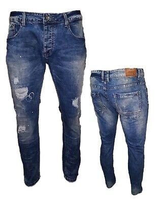 Jeans uomo pantaloni slim fit elasticizzati strappati cotone VARI MODELLI