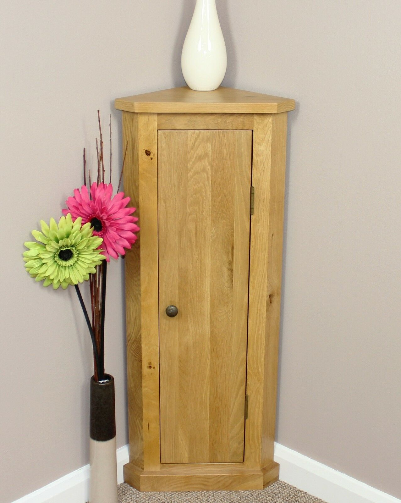 Solid Oak Corner Telephone Cabinet Storage Unit Plant
