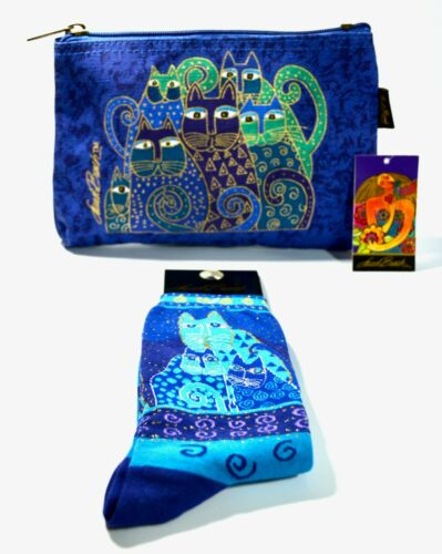 BUNDLE Laurel Burch Indigo Cats Cosmetic / Makeup Bag & Socks
