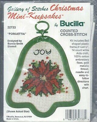 POINSETTIA Cross Stitch Christmas Ornament KIT Bucilla #3273