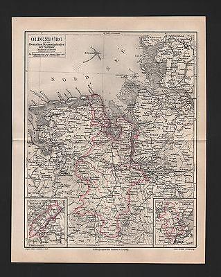 Landkarte map 1890: Oldenburg und die Deutschen Strommündungen der Nordsee.
