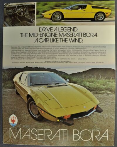 1974-1975 Maserati Bora Gran Turismo Sales Brochure Sheet GT Excellent Original