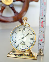 Nautical Table Clock Antique Maritime Golden Finish Solid Vintage Best Gift Item