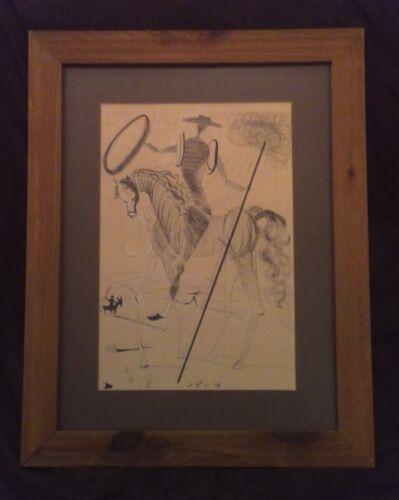 Vtg MCM black pen drawing, man on horse framed