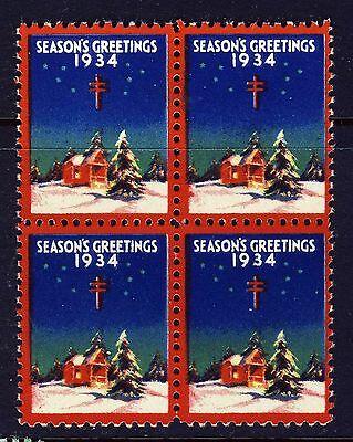 1934 USA Christmas Seal BLOCK - Mint Never Hinged