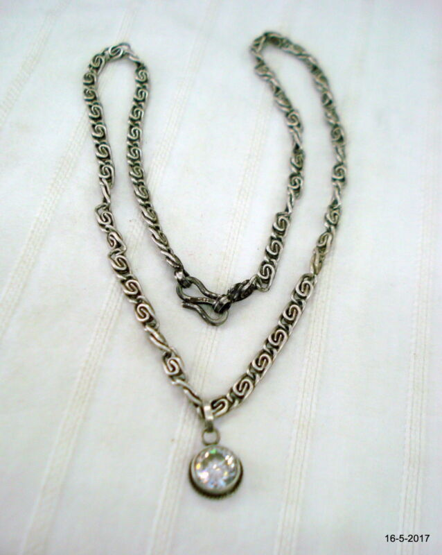 vintage antique tribal old silver chain pendant necklace handmade jewelry