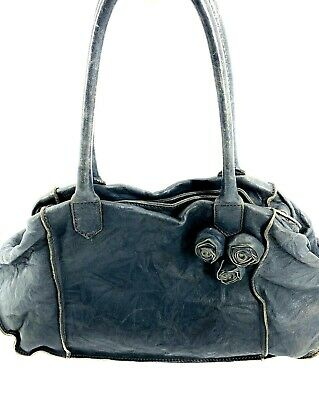 Falorni Italia Le Borse Taupe Gray Leather Floral Detail Shoulder Handbag