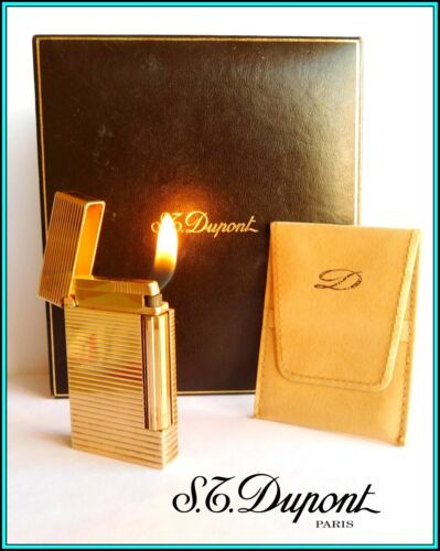 """S.T. DUPONT Ligne """"D"""" GOLD Plated SMALL Lighter / Briquet with BOX - SERVICED"""