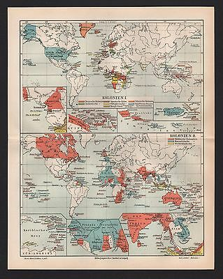 Landkarte map 1907: DEUTSCHE KOLONIEN I/II. in Africa Asien Afrika Asia