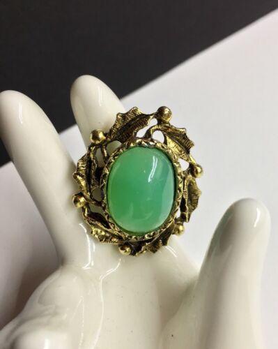 Antique Emerald Jade Ring  10K - Fine Carved Untreated Jade