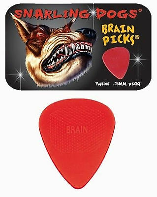 Snarling Dogs Brain Guitar Picks Red   73Mm 12 Picks In Tin Box