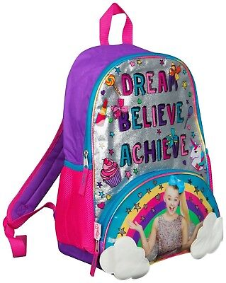 JoJo Siwa Bow Backpack Ruck Sack Sholder Bag Large Poket Print Back Pack Rainbow