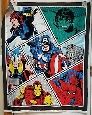 Marvel Multi Power Pop Quilt Panel by Camelot Fabric btp Captain Thor