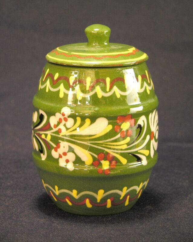 Mid 20th C Hungarian Folk Pottery Small Lidded Jar Floral Decoration, 4 3/8""