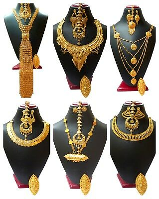 Indian Gold Jewelry - Indian 22K Gold Plated Wedding Necklace Earrings Jewelry Variations tikka Set bb
