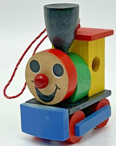 Vintage Christmas Ornament Wood Little Engine Train Locomotive Anthropomorphic