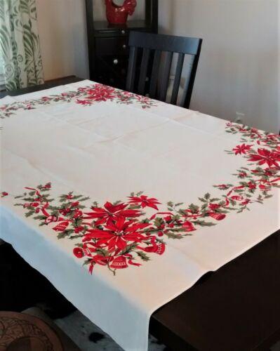 """Vintage Christmas Tablecloth White Cotton Poinsettia Printed 64"""" x 52"""""""
