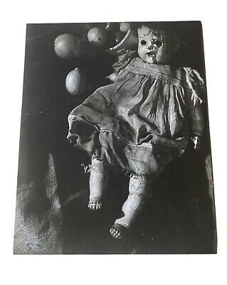 Rare Black & White 8 X 10 Photograph Active Haunted Bloody Doll Halloween Creepy
