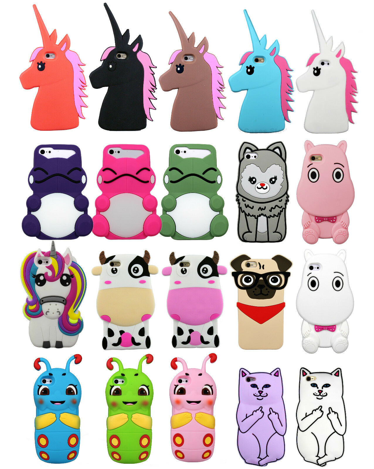 Cute New Animal Silicone Kawaii 3D Phone Case Cover For ...