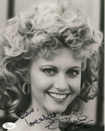 OLIVIA NEWTON JOHN HAND SIGNED 8x10 PHOTO    SANDY FROM GREASE    TO DAVE    JSA