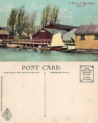 ERIE PA Y.M.C.A. BOAT HOUSE ANTIQUE POSTCARD
