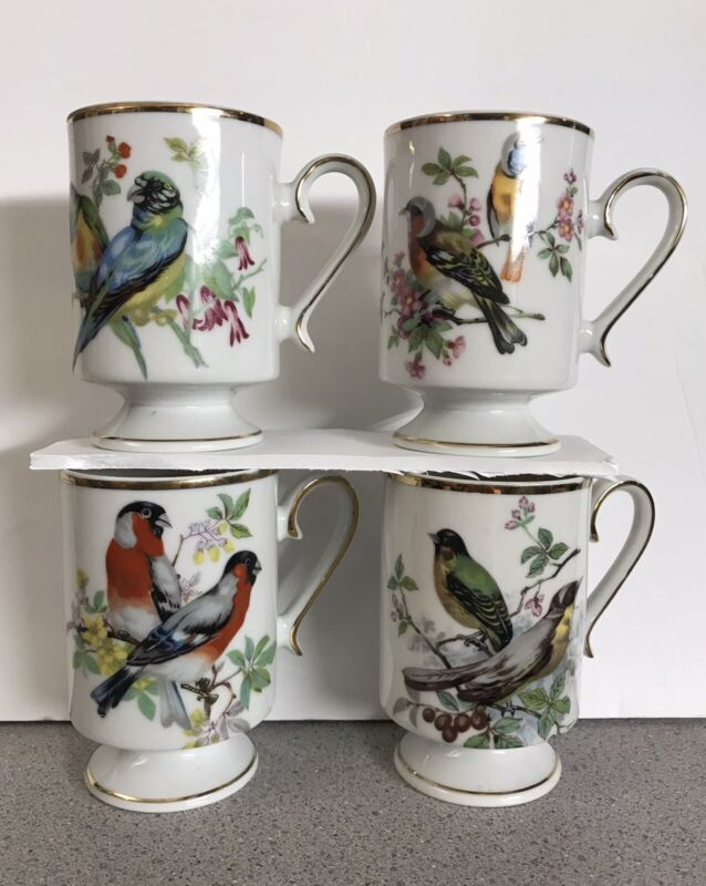 Vintage Royal Crown Birds Set of 4 Tea Cups Footed Gold Trim Coffee Mugs Nature
