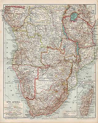 Landkarte map 1910: SÜD-AFRIKA. KAPKOLONIEN Transvaal-Oranje-Kolonie Africa