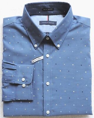 - Tommy Hilfiger Mens Slim-Fit Non Iron Dot Shirt Size: 17 (32-33)