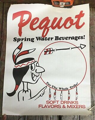Vintage PEQUOT Spring Water Beverages Country Store Indian Advertising Poster