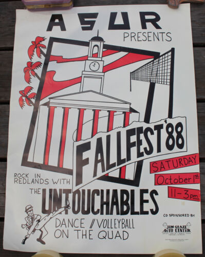 1988 The Untouchables Fallfest Concert Poster 25x18.5 Soul Mod California Ska
