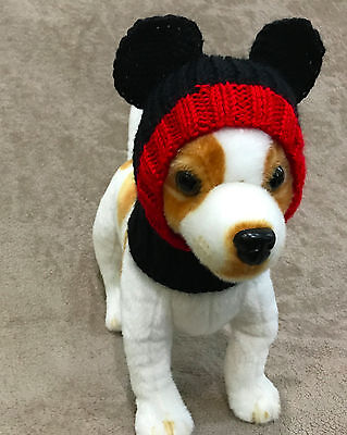 Mickey Mouse Dog (Pet Clothes Apparel Outfit Handmade Knit Mickey Mouse Hat for Small Dog)