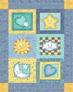 Baby Good Night Moon and Stars Quilt top Wall hanging Panel Fabric 100% Cotton