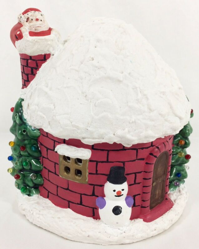 Vtg Xmas Santa House Ceramic Igloo Chimney Snowman Holiday Decor NO LightUp Cord