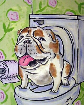 BULLDOG in the bathroom dog art print gift 13x19 picture gift