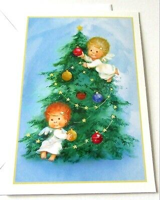 Unused Christmas Card Cute Angels Decorating Tree w Ornaments  ()